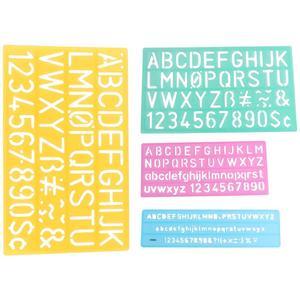 4 шт. граффити линейки алфавитные шаблоны цифры алфавитные символы полые дети учатся рисовать линейки (как показано)