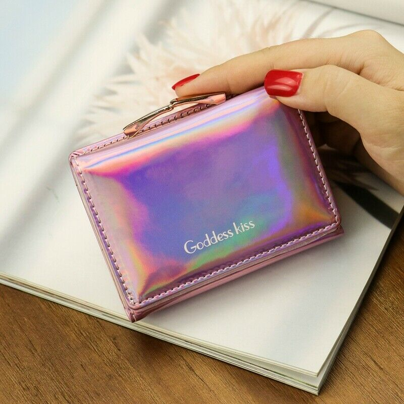 2020 New Holographic PU Leather Small Laser Organizer Wallet Luxury Women Short Coin Zipper Purse Card Holder