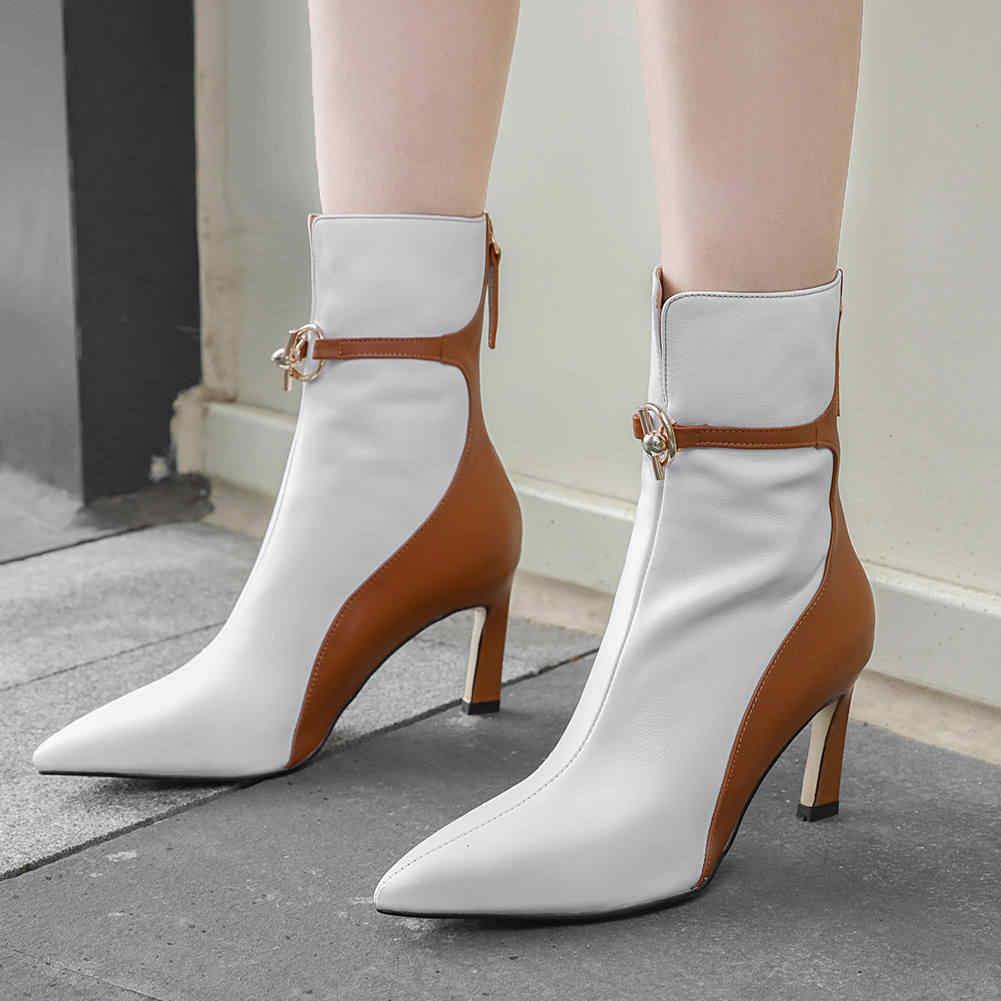 Doratasia 2020 elegant ยี่ห้อใหม่ 100% ของแท้หนังผู้หญิงรองเท้าข้อเท้ารองเท้าผู้หญิงรองเท้ารองเท้าส้นสูงชี้ toe พรรครองเท้าหญิง