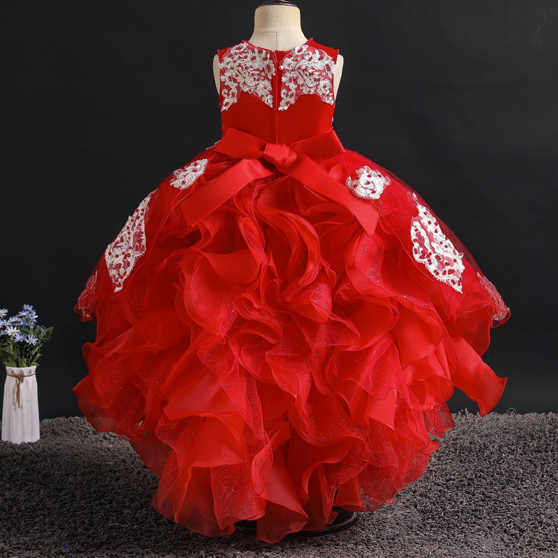 Flower Girl High End Wedding Party Beaded Tuxedo Girl Formal Eucharist Party Indoor Dance Party Birthday Tuxedo Embroidery Dress
