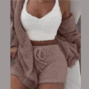 Three Piece Sexy Fluffy Outfits Plush Velvet Hooded Cardigan Coat+Shorts+Crop Top Women Tracksuit Sets Casual Sports Sweatshirt 2