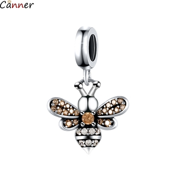 Canner Bee Pendant 925 Sterling Silver Bracelet Beaded Diy Necklace Jewelry Accessory Fit Pandora Charms