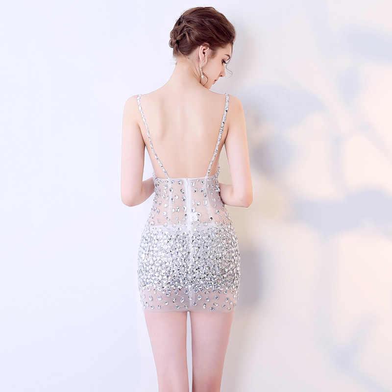 Avond Party Jurken Formele Jurk Vrouwen Elegante Kralen Prom Jurken Korte Sexy Zien Door Mini Prom Party Dress Backless 2019