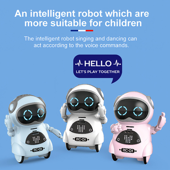 939A Pocket RC Robot Talking Interactive Dialogue Voice Recognition Record Singing Dancing Telling Story Mini RC Robot Toys Gift 1