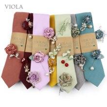 Advanced Colors Cotton Solid 6.5cm Tie Brooch Set Turmeric Olive Pink Men Wedding Rose Pin Party Suit Soft Cravat Gift Accessory
