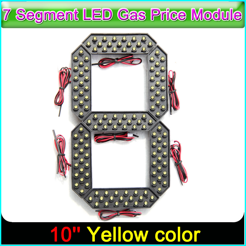 """10"""" Yellow Color Digita Numbers Display Module LED Signs 7 Segment Of the Modules, 7 Segment LED Gas Price Module"""