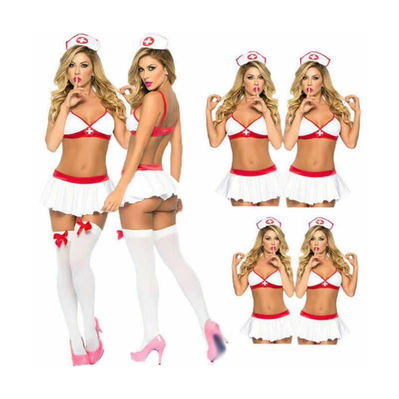 Kostum Cosplay Wanita Perawat Dokter Seragam Kostum Pakaian Dalam Wanita Halloween Cosplay Kostum