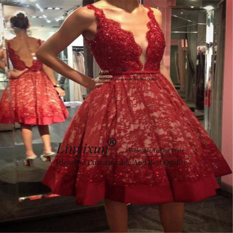 Robe De Soiree New Spaghetti Straps Sexy Cocktail Dresses 2019 Backless Appliques Lace Party Evening Gowns Short Prom Dresses