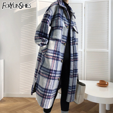 Outwear Coats Long-Jacket Plaid Print Warm Woolen Female FORYUNSHES Retro Korean-Style