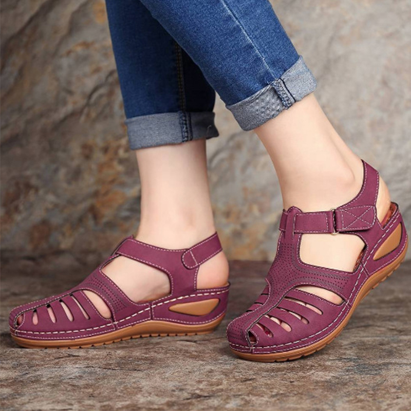 Summer Pu Leather Vintage Woman Sandals Buckle Casual Sewing Women Shoes Solid Female Peas Shoes Ladies New Platform Shoes 34-44