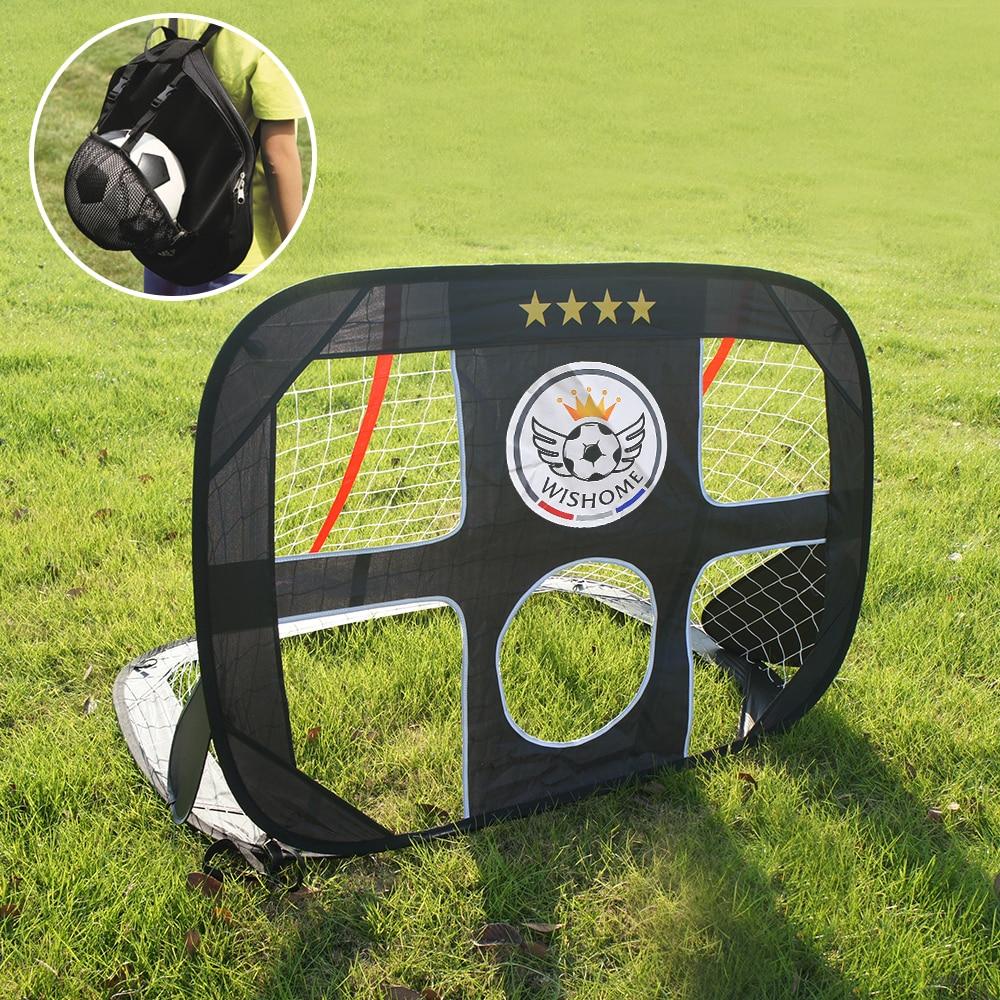 WISHOME 2in1 Kids Pop Up Soccer Goal Portable Football Gate Children Soccer Goal Net For Backyard Indoor Toy Soccer Equipment