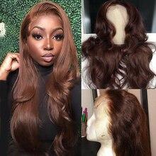 Peruca reta do cabelo humano da parte dianteira do laço da cor marrom para as mulheres preplucked 13x4 remy peruca 150% densidade virgem do cabelo humano