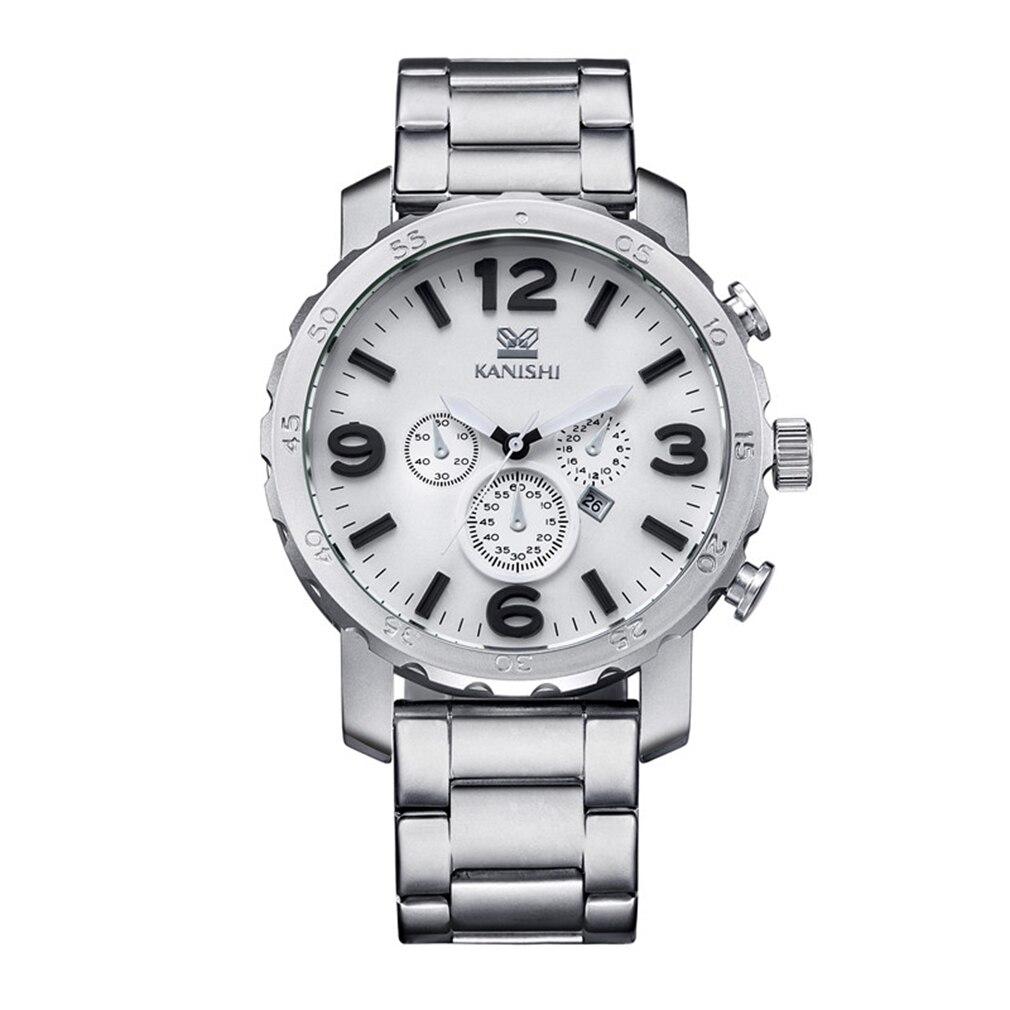 1069 KANISHI Trendy Design Men Round Case Stainless Steel Strap Wrist Watch Dress Wrist Watch Men Male Best Birthday Gifts