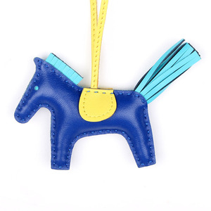 Image 4 - Designer Famous Brand Luxury Soft Real Genuine Leather Cute Horse Keychain Pendant For Backpack Animal Key Chain Women Bag Charm