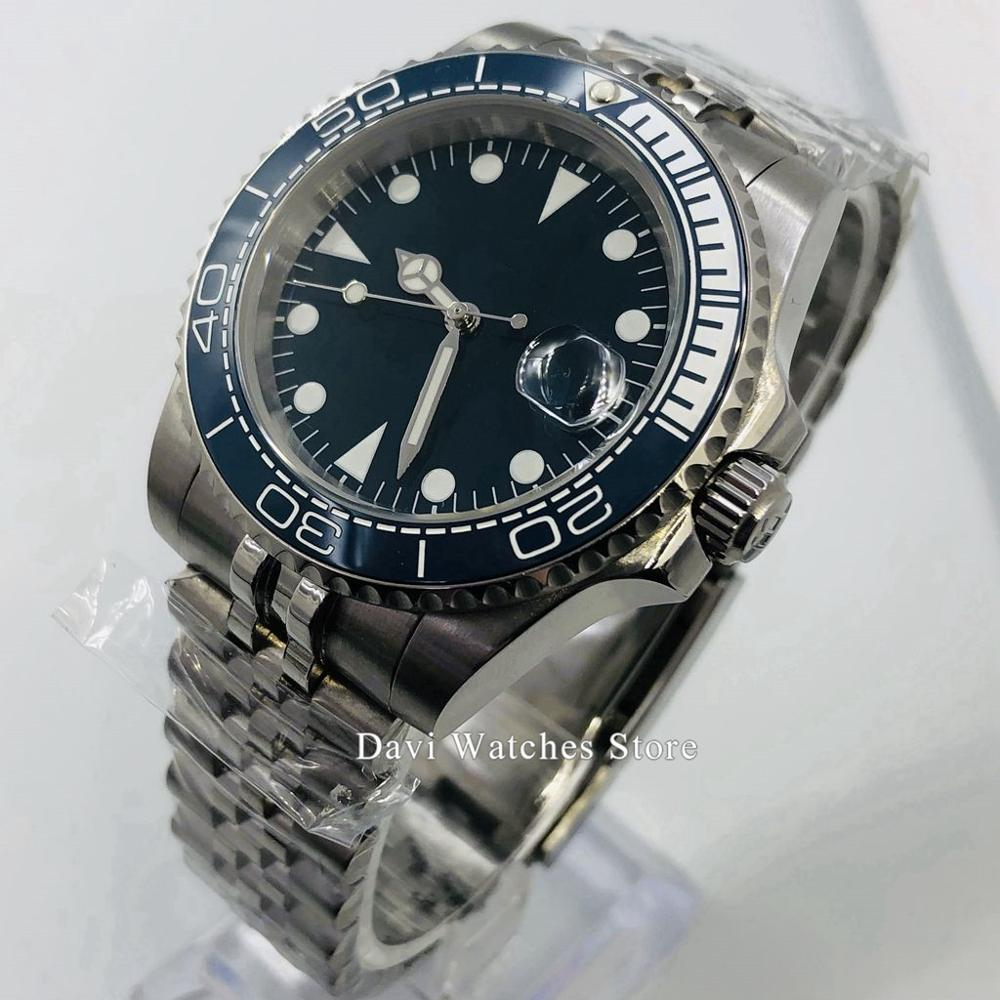 40mm Bliger/Sterile Top Watch Luminous Sapphire Glass Polished Bezel Silver Crown Case Miyota Automatic Movement Men's Watch