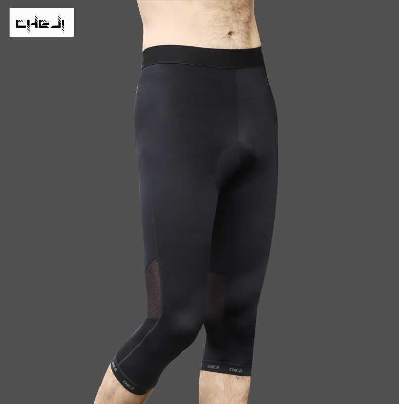 Cheji calças de ciclismo mtb bicicleta estrada 3/4 calças dos homens ciclismo esporte calças almofada gel shorts preto S-XXXL