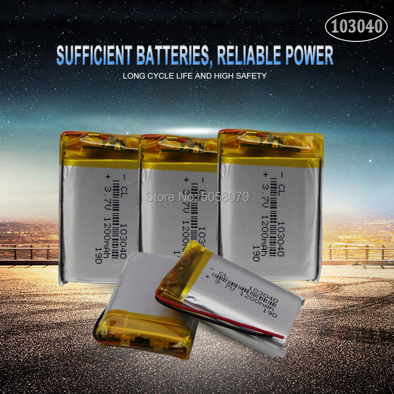5pc 1200mAh 3.7V 103040 Lithium Polymer LiPo Rechargeable Battery For MP3 MP4 GPS PSP VR DVR DVD mobile video game Tablet Pow image
