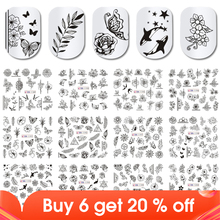 12pcs Black Flower Butterfly Stickers For Nails Hollow Design Nail Art Decal Water Transfer Slider Manicure Decor JIBN1189 1200