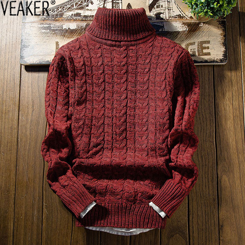 2019 New Men's Solid Color Twist Turtleneck Sweater Male Autumn Winter Slim Fit Knitted Pullovers Sweater Casual High Neck Tops