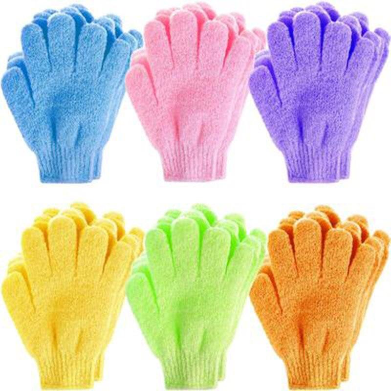 Exfoliating Bath Gloves Bathing Five-finger Gloves Children Bath Towel Colorful Soft Bubble Bath Towel Gloves 2 Pairs Pack ZG88