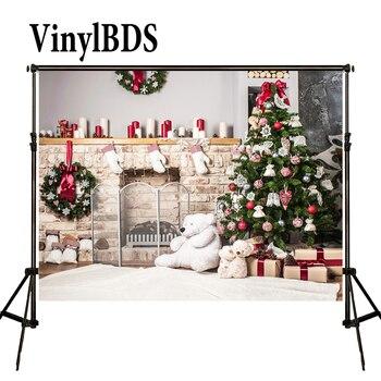 Винилбдс Рождественский фон белый медведь Подарочная коробка фон белый ковер Семейные фоны кирпичный камин Детская фотография для студии