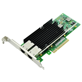 10Gb PCI-E NIC Network Card, for X540-T2 with Intel X540 Chip, Dual Copper RJ45 Port, PCI Express X8 with Dual RJ45 Port Server