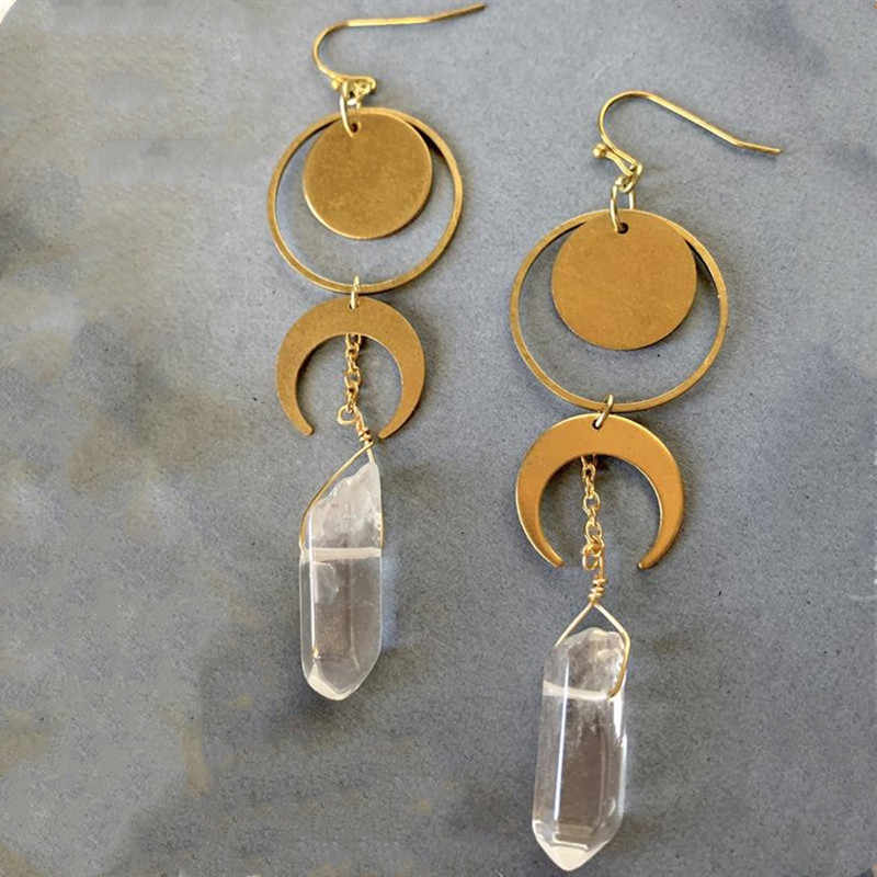 Gemstone Jewelry Upcycled Jewelry Moon Jewelry Crescent Moon Earrings w Clear Crystal Quartz Vintage Tin Earrings