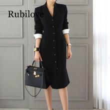 Rubilove 2019 Autumn New Arrival Women straight knee-length Casual half sleeve slim vestidos office lady dress clothing