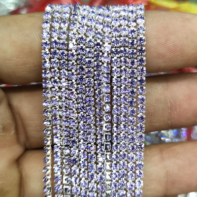 1 ярд/шт, 30 цветов, стеклянные хрустальные стразы на цепочке, Серебряное дно, Пришивные цепочки для рукоделия, украшения сумок для одежды - Цвет: Crystal violet