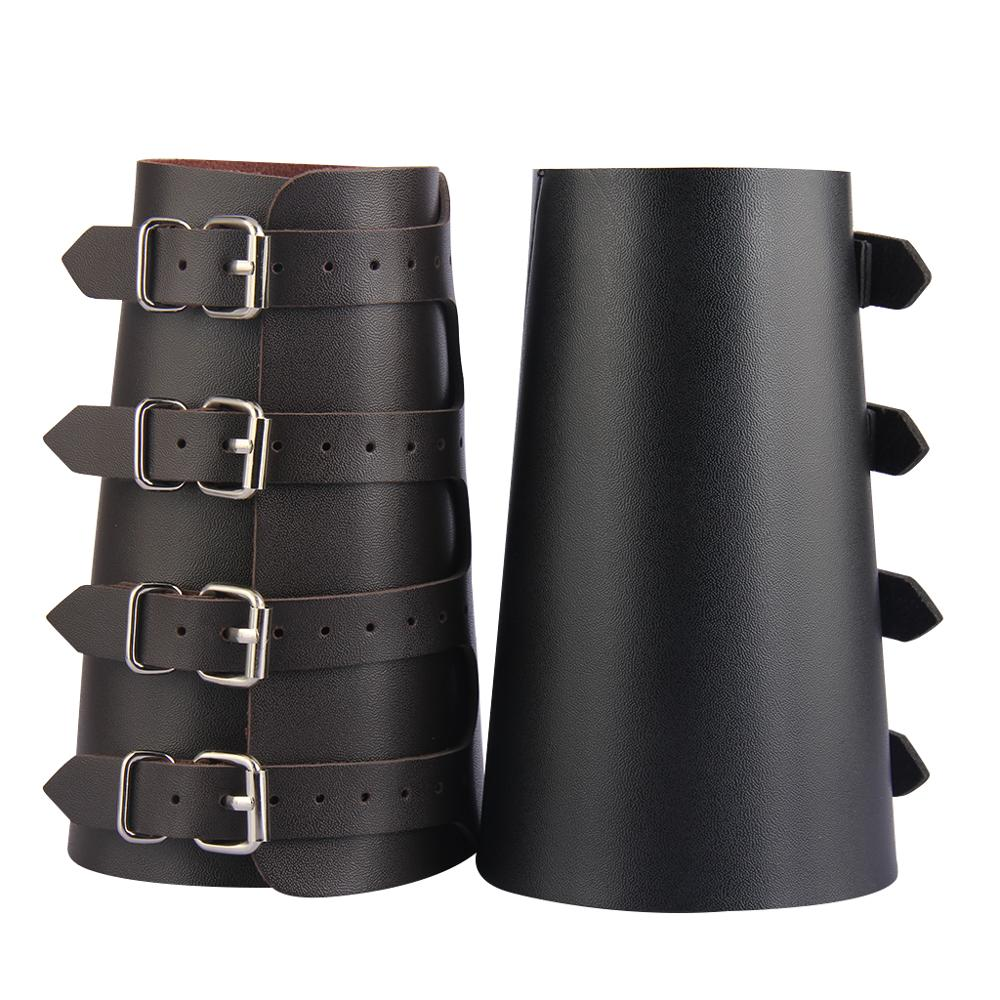 Pu Leather Arm Armor Unisex Gauntlet Wristband Wide Bracer Arm Protector Cuff String Steampunk Bangle Buckle Bracelet Cosplay