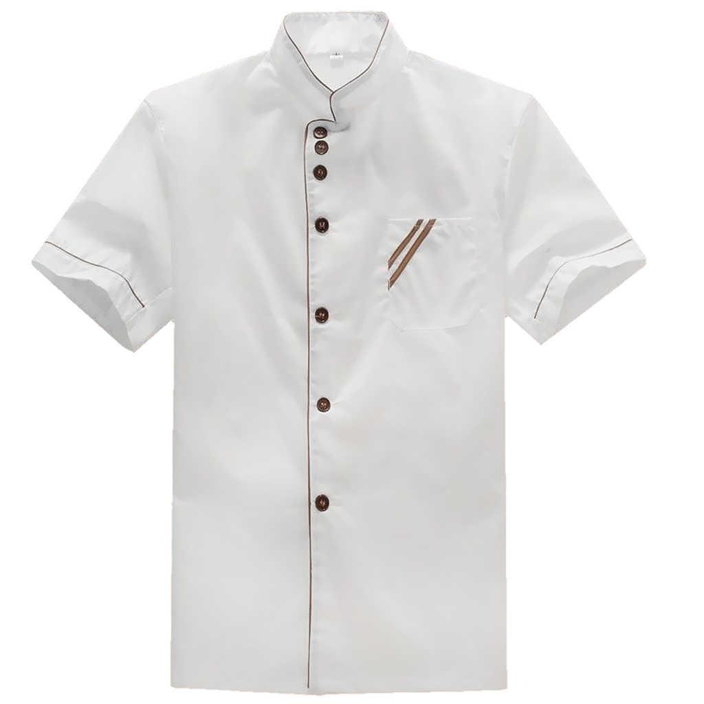Erkekler kadınlar kısa kollu şefler üniformaları, restoran şef ceketi mutfak ceket Tops-Stand up yaka