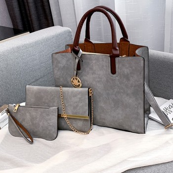 Large Messenger Travel Bag Fashion Women's Outdoor Solid Color Three-Piece Leather Handbag Messenger Bag Female Shoulder Bags фото