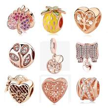 100% Authentic Original 925 Sterling Silver Charm CZ Bead Pendant Spacer Clip Charms Rose Gold Color Fit Bracelets DIY Jewelry