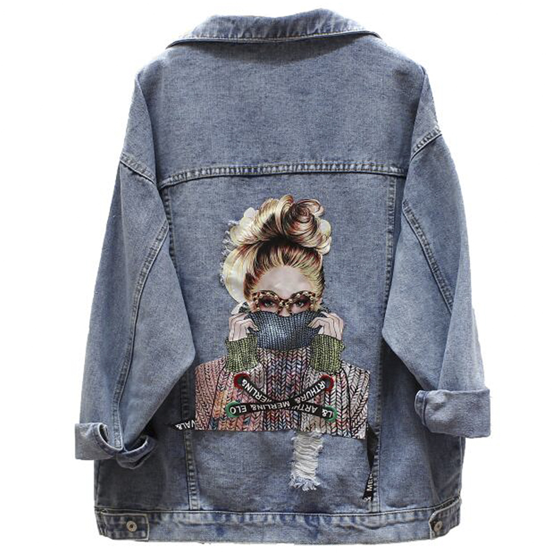NEWDISCVY Back Letter Printed Denim Jacket 2019 Autumn Ripped Holes Jean Coat Patchwork BF Style Jeans Coats And Jackets(China)