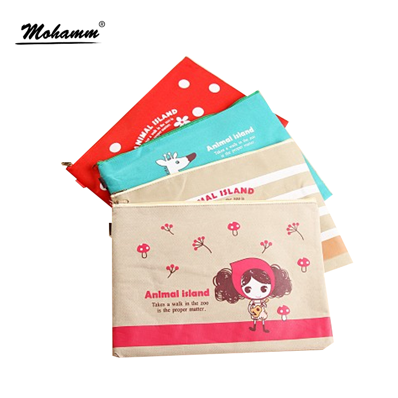 1 Pcs Cute Kawaii Cartoon Animal A4 Canvas File Document Folder Product Bags School Supplies Stationery