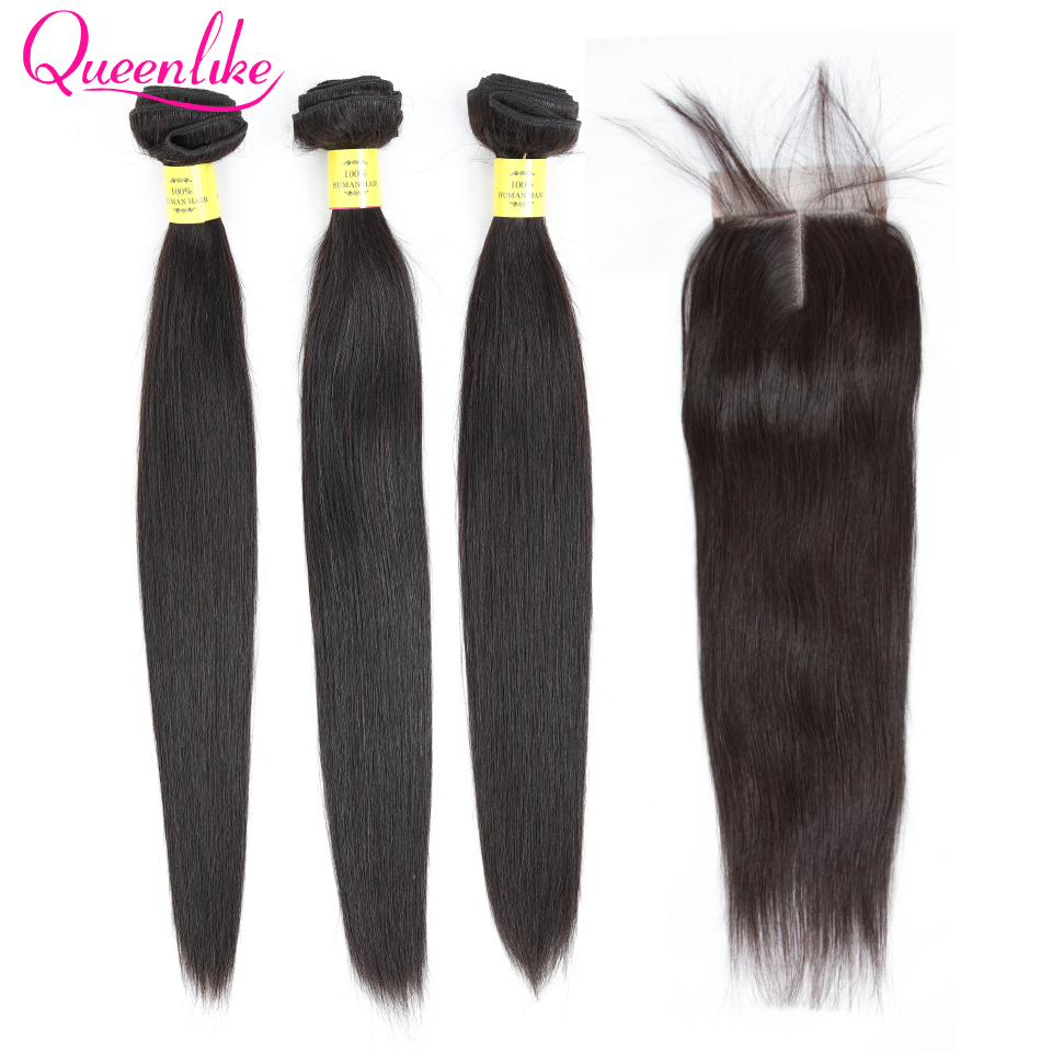H3fc92d4703394261948add313d485d81i Queenlike 100% Human Hair Weave Bundles With Closure Non Remy Hair Weft 3 4 Bundles Brazilian Straight Hair Bundles With Closure