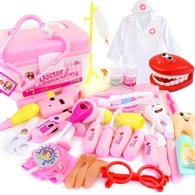 Kids Doctor Toys Set Dentist Toys Girls Role Playing Games Hospital Pretend Play Medical Kit Nurse Bag Toys For Children