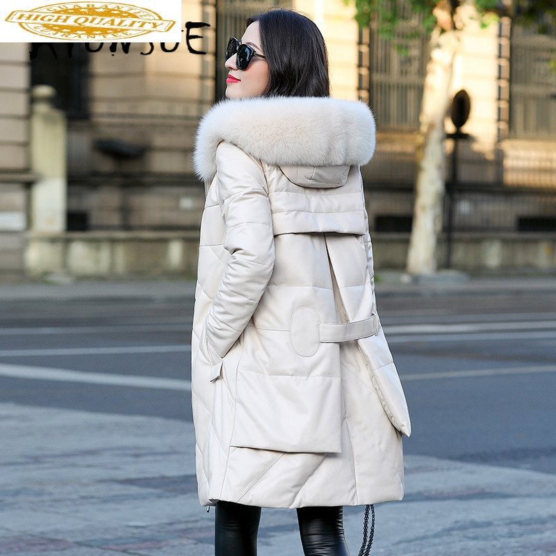 Genuine Leather Jacket Sheepskin Coat Women Clothes 2019 New Fox Fur Collar Duck Down Coat Winter Coat Women ZM-079 YY2322