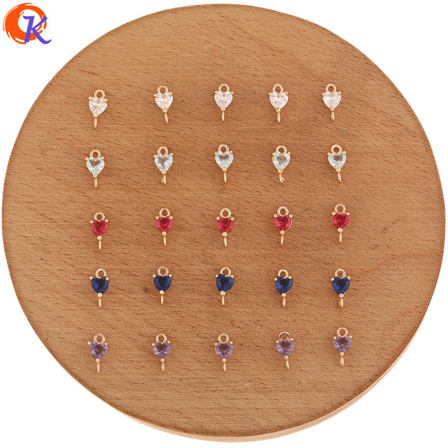 Accesorios de joyería de 5x9MM con diseño de Cordial, conectores de joyería de cristal, forma de corazón, hechos a mano, DIY, accesorios para pendientes, 100 Uds.