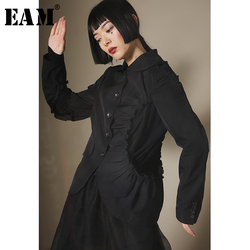 [EAM]  Women Ruffles Split Hollow Out Short Blazer New Lapel Long Sleeve Loose Fit  Jacket Fashion Tide Spring Autumn 2020 1B578