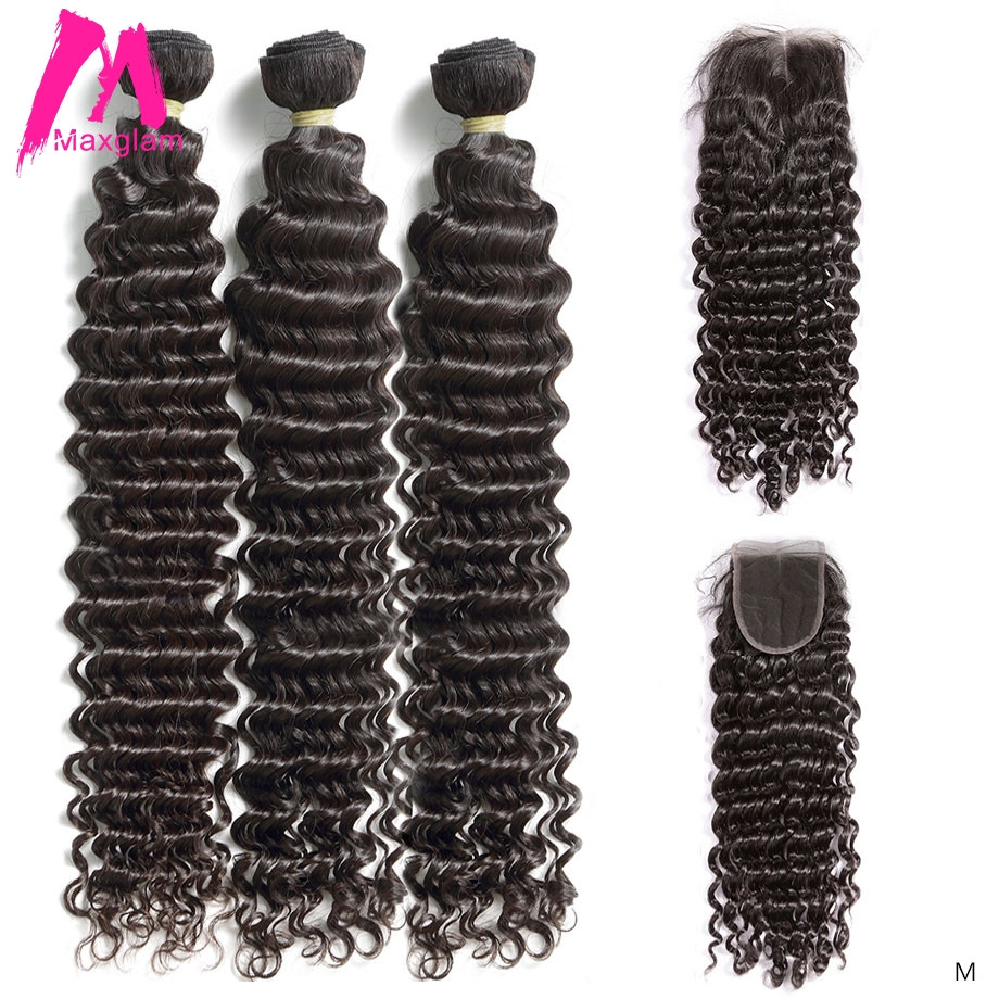 Human Hair Extension Deep Wave 3 4 Bundles With Closure 30 Inch Brazilian Short Natural Long Remy Weave For Black Women