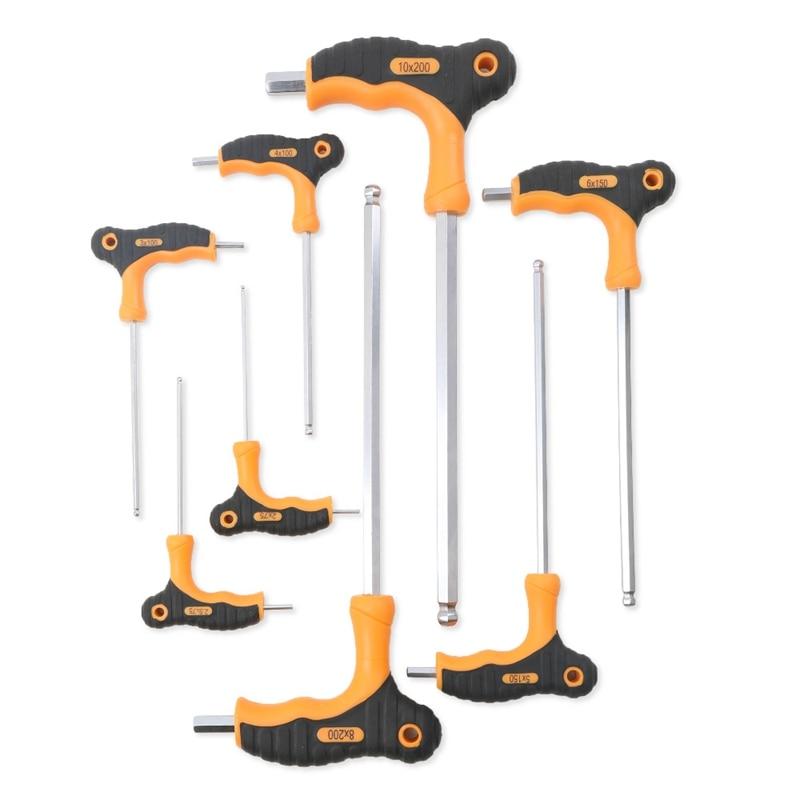 T Handle Torx Star Keys Screwdriver Allen Tool Set T15 T20 T25 T27 T30 T40 T45
