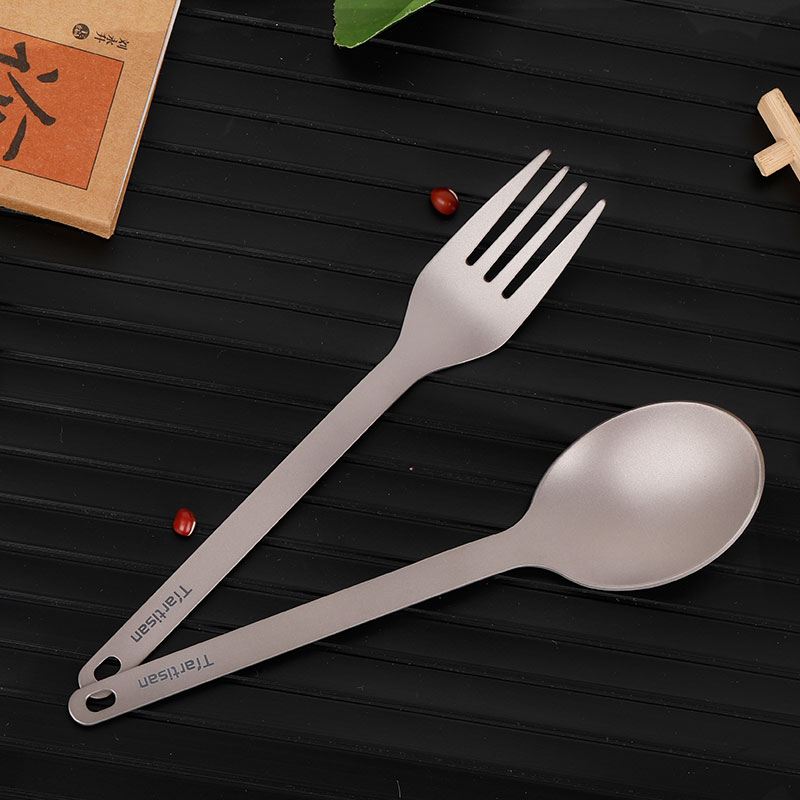 Tiartisan Pure Titanium Fork Spoon Outdoor Camping Picnic Spoon Light Weight Tableware Fork in Outdoor Tablewares from Sports Entertainment