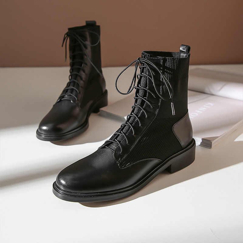 Donna-in 2019 hakiki deri bayan çorap zarif sonbahar kış yarım çizmeler topuklu kadınlar Lace Up moda streç ayakkabı