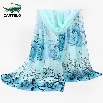 CARTELO New ladies scarf 2020 autumn and winter new chiffon scarf rose flower scarf multi-color printing long scarf rose bush pattern gossamer scarf