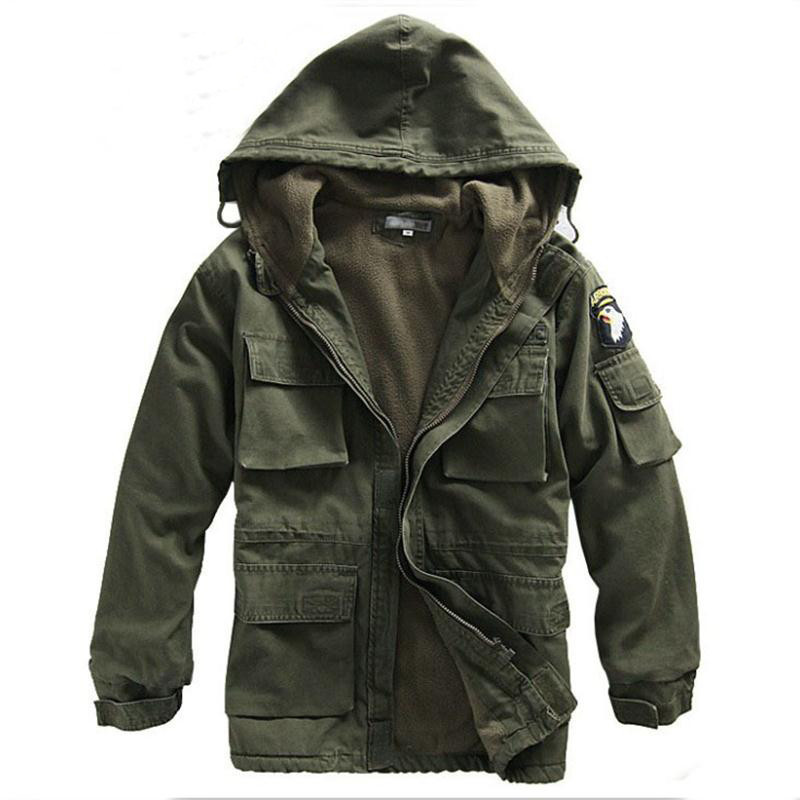 Military Uniform Men's M65 Trench Coat Male Solid Camouflage Wadded 101st Airborne Force Fleece Jacket Coat Men Clothing