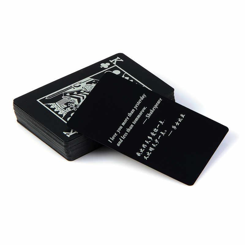 2 pièces de qualité en plastique noir PVC Poker étanche boîte magique-emballé cartes à jouer cadeau créatif Durable couleur Pure noir astuces