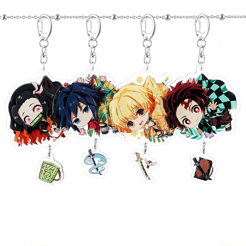Anime Demon Slayer Keychain Womens Tanjirou Kamado Nezuko Tomioka Giyuu Kimetsu No Yaiba Acrylic Key Chain Cute Funny Cartoon(China)