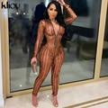 Kliou комбинезон с вырезами, женский комбинезон, Одноцветный, обтягивающий, тонкий, уличная одежда, 2021, сексуальные, на молнии, цельные, вечерни...