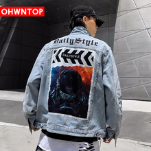Mens Original Space Character print Denim Jacket 2020 Hip Hop Casual Patchwork Ripped Distressed Punk Rock Jeans Coats Outwear